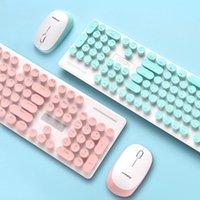 Keyboard Souris Combos mignons 24 clés 2,4 GHz N520 Set de mécanique sans fil Rond Touche Touche Tourne Tourne
