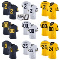 NCAA Michigan Wolverines College Football 2 Shea Patterson Jersey Big Ten 24 Zach Charbonnet 25 Hassan Haskins 8 Ronnie Bell-13 Tru Wilson