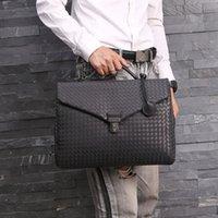 HBP Kaisiludi leather woven handbag business men's briefcase waxed cowhide postman computer shoulder slant span bag Q0112