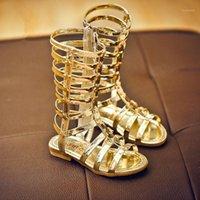 Сандалии 2021 Гладиаторские Девушки Летние Сапоги Высокие Заклепки Длинные Мода Детская Обувь Для Детей ПУ Fee1