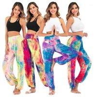 2020 Nuevas mujeres Tie-Dye Pantalones anchos Pantalones de pierna de cintura alta Bohemia Pantalones ocasionales sueltos impresos Impreso Gimnasio Tailandés Gran tamaño 3xl1