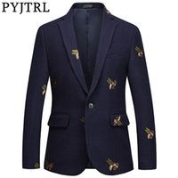 PYJTRL Mens Fashion Autumn Winter Quality Luxurious Bee Embroidery Woolen Blazer Wedding Prom Singers Blazers Costume 201113