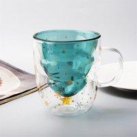 Canecas Caneca de vidro criativo Copo de café duplo árvore de Natal bonito para desenhos animados bebendo óculos copo de vinho