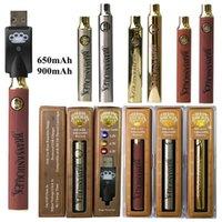 Goldholz Messing Knöchel Batterie 900mAh 650mAh VAPE Stift Vorheizen VV Variable Spannungsbatterie 510 Gewindebatterie Ecig Dicke Ölpatronen