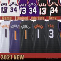 2021 جديد Devin 1 بوكر كرة السلة جيرسي كريس رجالي 3 بول شبكة الرجعية ستيف 13 ناش تشارلز رخيصة 34 باركلي الشباب أطفال الذهب