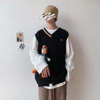 가을 패션 남자 민소매 스웨터 느슨한 추세 성격 스웨터 조끼 모서리 바람 대학 바람 니트 남성 스웨터 1