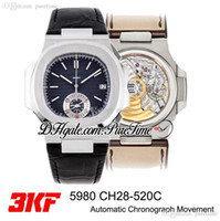 Yeni 3 KF 5980 CH28-520C Otomatik Chronograph Erkek İzle Çelik D-Mavi Doku Dial Siyah Deri En Iyi Baskı Kronometre Puretime PTPP A1