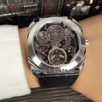 Новые высококачественные часы Octo Finissimo Tourbillon 102719 Скелетные циферблаты автоматические мужские часы Черный кожаный ремень Гент спортивные наручные часы