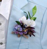 DIY 5PCS / LOT 10 * 12 cm Simulation personnalisée à la main Corsage Fleur Silk Fleur Robe De Mariée Fleur Groom avec Broche bien-aimée