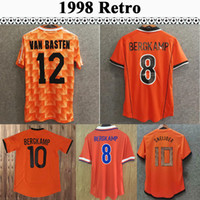 1998 # 8 Bergkamp Mens 축구 유니폼 네덜란드 1988 # 12 van basten # 10 Gullit # 17 Rijkaard 축구 셔츠 1995 1991 # 8 Bergkamp 레트로