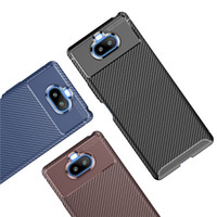 Funda telefónica de fibra de carbono delgada para Sony Xperia 10 II xz4 xz3 xA3 Ultra XA2 XZ2 Cubierta de caja compacta para Sony Xperia 5 II Xperia 8 10 más Coque