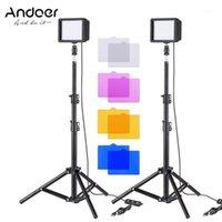 Andoer Mini USB LED LED KIT CON LED Video Light Panel Tripod Soportes Filtros de ballhead para YouTube Video Photography1