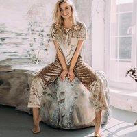 Heechan Veet tricoté féminin pyjama Ensemble à manches courtes O couches de cou et pantalons femmes femmes de nuit vêtements de nuit occasionnels d'automne costume d'automne
