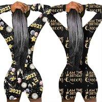 2021 Ben Doğum Günü Kraliçe Bayan Açık Geri Romper Şort Uzun Kollu Tulum Pijama Takım Elbise Geri Butt Bum Açık Tulum Bodysuit E122901