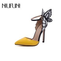 NIUFUNI 2020 Butterfly Wings Summer Pointed Toe Pumps Women Shoes Thin Heel High Heels Spell Color Sandals