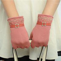 Fünf Fingern Handschuhe Touchscreen Damen Weibliche Frauen Winter Handschuh Spitze Handschuhe Verwenden Gerät Hände Hände Warmes Fahrrad Auto fahren