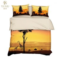 Yuxiu 3d الطباعة الحيوان الزرافة شجرة حاف يغطي أسود مجموعة مفروشات السرير غطاء السرير سادات الملك الملكة الكامل التوأم مزدوج
