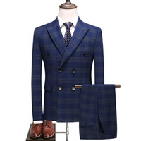 Costumes Ensemble robe de mariage formel Business Groom BlueTuxedo Slim Fit double boutonnage Grille Homme Costume Set Men (veste + pents + Vest)
