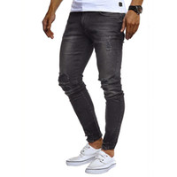 Hole Slim Mens Designer Jeans Spring Autumn Solid Color Men ...