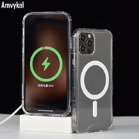 Şeffaf silikon kılıf iphone 12 pro max 12mini akrilik darbeye dayanıklı kapak iphone12 12pro magsafe manyetik durum için