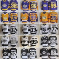 Los Angeles 32 Jonathan Quick Jersey Kings Men3 Marty Mcsorley 77 Jeff Carter 99 Wayne Gretzky La Vintage Hockey Jerseys Black White