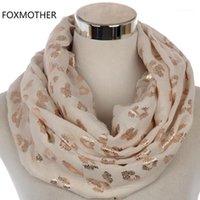 Шарфы Foxmother модно блестящие женские черные розовые бронзы фольги розовое золото леопардовые шарфы хиджаб блеск нащул follard femme1