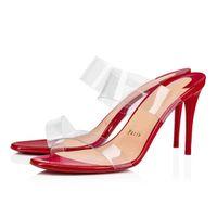 """Женщина летние сандалии красные подошвы каблуки, бренд красных нижних туфли """"Просто ничего"""" стиль кожаные и ПВХ ремни, сексуальная леди свадебная вечеринка"""