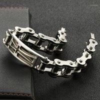 Lien, bracelet en acier inoxydable à chaîne pour hommes steampunk cycle vélo cycles chaînes chaînes creuses bracelets bracelets hommes bijoux 1