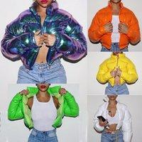 ウィンターダウンジャケット女性ネオンカラートリミングパウガジャケットパーカーアウトウェア厚いバブルコートファッションストリートウェア