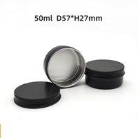 100pcs 50g / 50ml Negro de aluminio frascos vacíos de maquillaje cosmético Crema Bálsamo labial del lustre del metal de estaño Contenedores
