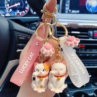Moda creativa linda bolsillo coreano gato de dibujos animados epoxy metal llavero bolsa colgante pareja regalo llavero llavero encantos cordón para llaves