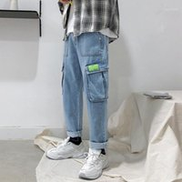 Jeans da uomo 2021 Uyuk Autunno Autumn Large Size Casual Handsome Youth Pocket Decoration Wash Straight Wash Hombre Homme Uomo Streetwear1