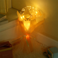LED Luminoso globo ramo ramo de rosa burbuja transparente rosa bobo bola para regalo de día de San Valentín Decoración de boda de cumpleaños E121802