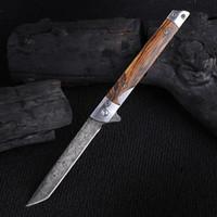 Coltello tascabile pieghevole Damasco M390 Survival Tactical Knife con guaina in pelle Combattimento da campeggio Escursionismo Coltelli da caccia All'aperto Multi Strumento