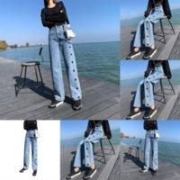 6F1 Autumn Lady Red Jeans e Invierno Nueva Moda Calle Wild Cintura Decoración Pequeños Pies Jeans Mujeres, Jeans Cintura Tendencia Casual Slim