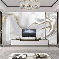 Encargo mural pintado moderno 3D Golden Line Jazz de mármol blanco del papel pintado del arte de la sala de TV Sofá Resumen Papeles de empapelar Decoración