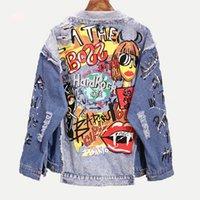 BELKİ U Kadınlar Mavi Denim Gevşek Punk Ceket Düğmesi Cep Aşağı Yaka Harf Graffiti Delik Hip hop tarzı C0221 200.930 yazdırmak çevirin