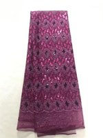 Fleurs à la mode des paillettes Tulle broderie Français Net Dentelle Tissu BZL-8.0503 pour la tenue de soirée1