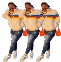 Mulheres Berber Berber Fleece Casaco Casaco Arco-íris Listrado Cordeiro Fleeced Zipper Casaco Casacos Sherpa Camisola Blusa Engrossar Ouro Outerwear Tops E122903