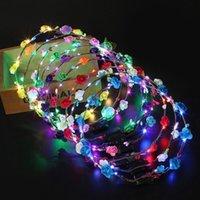 fiesta de los niños venda de la flor de luz LED encima del pelo de la guirnalda guirnaldas Hairband Mujeres de Halloween partido de la guirnalda de la Navidad que brilla Suministros 300pcsT1I2595