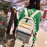 student Motorcycle female mesh schoolbag color matching menderya Korean new couple large capacity Backpack