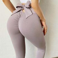 Bowknot Lift Hip deportes pantalones deportes de cintura alta yoga leggings scrunch tope entrenamiento deportes mujeres fitness leggings gimnasio corriendo medias 122401