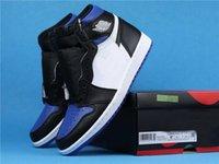 Basquete Popular Sapatos Jumpman 1 Retro Alta Royal Tee 575441-041 Preto Branco Jogo Royal Black Women Sneakers Zapatillas de Deporte de Lujo
