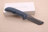 Slipe Facas Personalizado Norseman Flipper Faca Dobrável Satin S90V Lâmina Azul Anodizado Titanium Hand Tactical Survival Acampamento Bolso Faca
