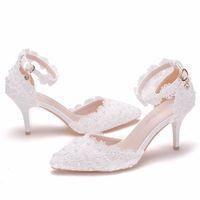 Fournitures Souhaite Amazon White Dentelle Chaussures de mariage Un mot Strap Stiletto talon pointu oiseau sandales de mariage de mariée 9cm pompes chaussures de mariage de mariée