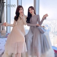Trytree 2021 Autumn Winter Knitted Women Dress Beading Flare...