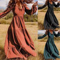 Gelegenheitskleider Frauen plus Größenkleid Mode Lange Laterne Ärmel Kunst Retro Reine Farbe Vintage Marke Hohe Qualität # 35
