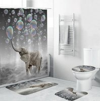 4 قطع الفيل ماء البوليستر فقاعات الحمام دش الستار المرحاض غطاء حصيرة عدم الانزلاق الكلمة حصيرة البساط مجموعة مع 12 السنانير 201028