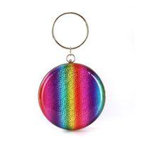 Evening Bags Mulheres Grandes Anel Totes Rainbow PU Dinheiro Bolsa Telefone Ombro Bolsa Moda Meninas Multi-Color Party Circular Saco 1