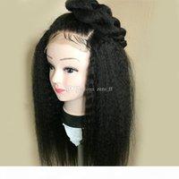 Capelli umani parrucche piene del merletto del Virgin peruviano capelli diritta crespa dei capelli del bambino delle donne afro del merletto per trasporto libero nero